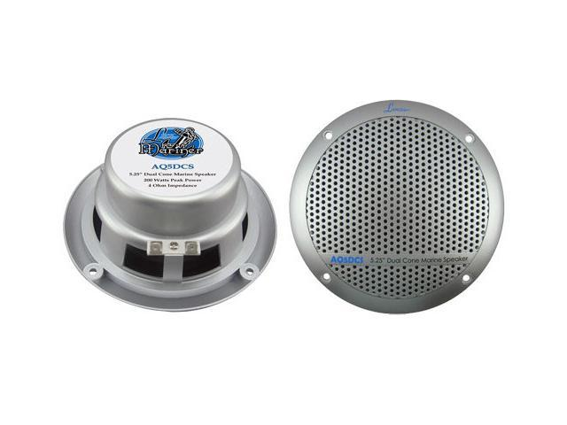 """New Pair Lanzar Aq5cxs 5.25"""" 400W 2-Way Marine/Boat Audio Stereo Speakers Silver"""