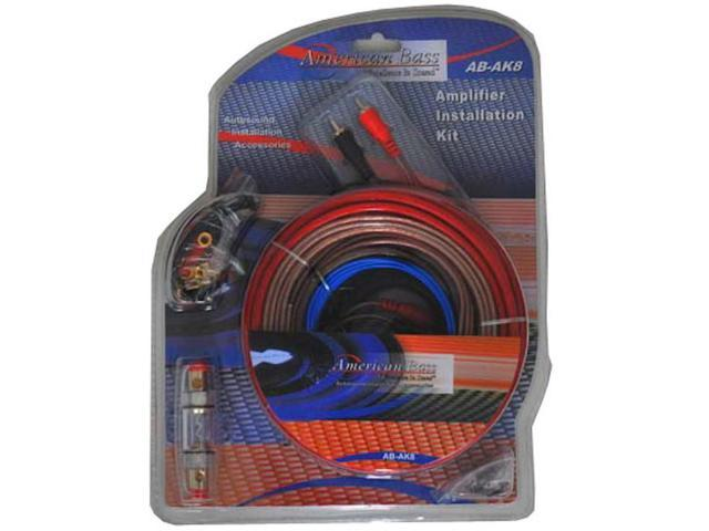 New American Bass Ak8 Car Audio 8 Gauge Amplifier Amp Wiring Kit