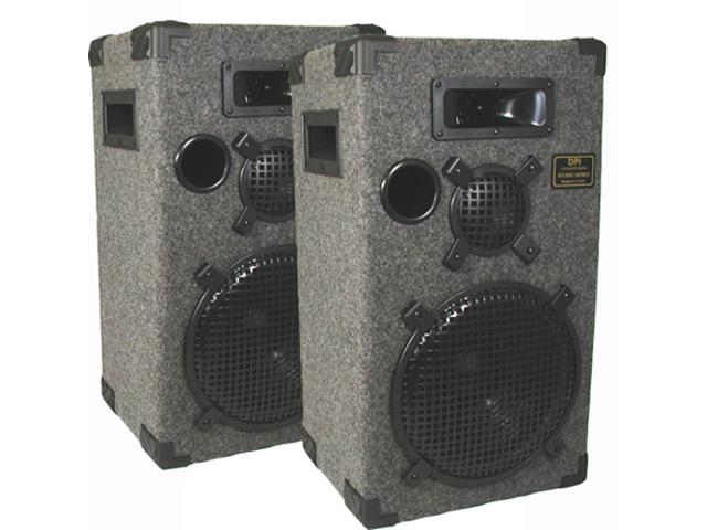 "New Gray Studio Speakers 12"" Three Way Pro Audio Monitor Pair for PA DJ Home or Karaoke D1200C"