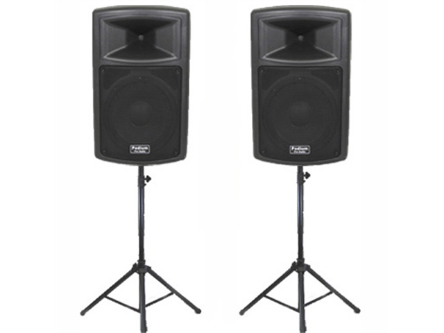 "Podium Pro 2 New 12"" Pro Audio Powered Speakers and Stands DJ Set with Bluetooth PP1203ASET1B"