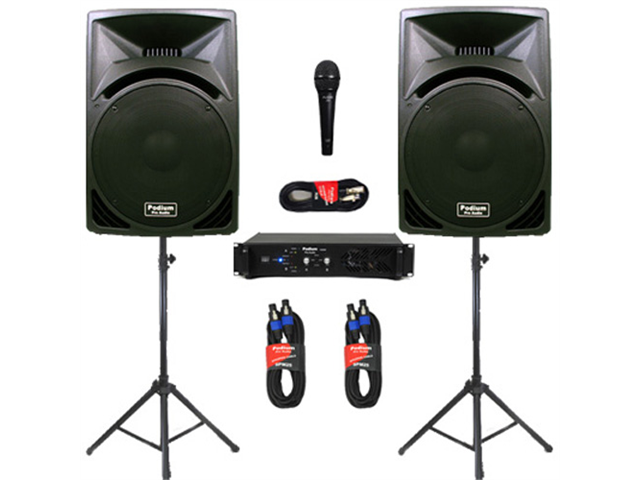 """Podium Pro 15"""" Speakers, Stands, Amp, Cables, Bluetooth and Mic for PA DJ Home or Karaoke PP1510SETB"""