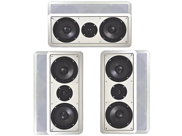 """Acoustic Audio CC6 In-Wall 6.5"""" Left Center Right Front Speaker System 900W CC6-3S"""
