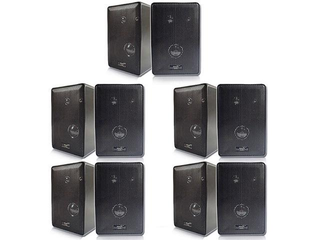 Acoustic Audio 251B Indoor Outdoor 3 Way Speakers 2000 Watt Black 5 Pair Pack New 251B-5Pr
