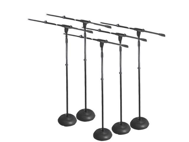 Podium Pro Adjustable Steel Microphone Stands with Booms and Iron Bases 5 Mic Stand Set MS1SET3-5S