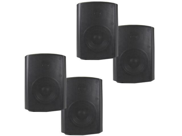 Theater Solutions 2 Pairs of New Indoor or Outdoor Weatherproof HD Mountable Black Speakers 2TS5ODB