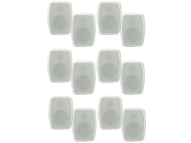 Theater Solutions TS4ODW Indoor or Outdoor Speakers Weatherproof Mountable White 6 Pair Pack
