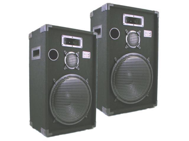 "Podium Pro 1500C PA DJ Karaoke Home Pro Audio 15"" Three Way Black Speaker Pair"