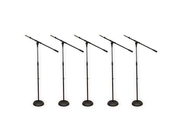 Podium Pro MS1 Adjustable Steel Microphone Stands with Booms and Iron Bases 5 Mic Stand Set MS1SET3-5S