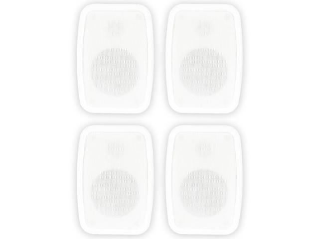 Theater Solutions TS4ODW Indoor or Outdoor Speakers Weatherproof Mountable White 2 Pair Pack