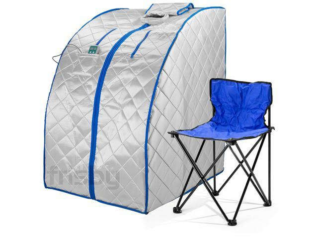 Frisby Large Infrared IR FAR Portable Indoor Personal Sauna w/ Footpad & Chair + Negative Ion Detox