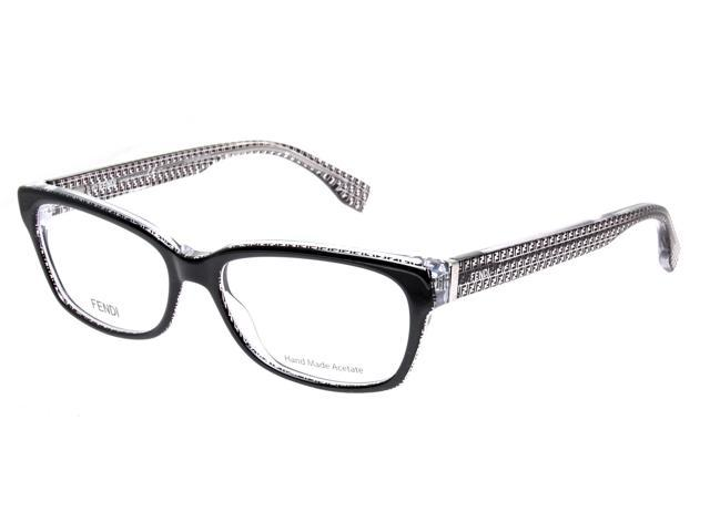 Fendi FF 0004 6ZV Black Crystal Rectangular Womens ...