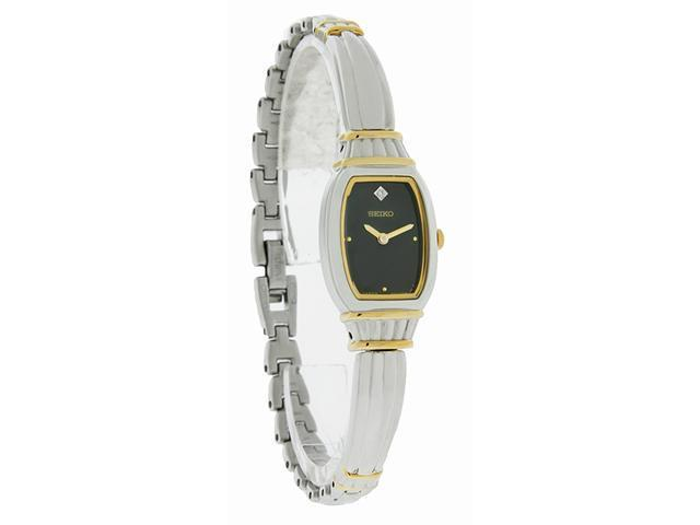 Seiko Quartz Ladies Black Diamond Dial Two Tone Bangle Bracelet Watch SUJF24 New