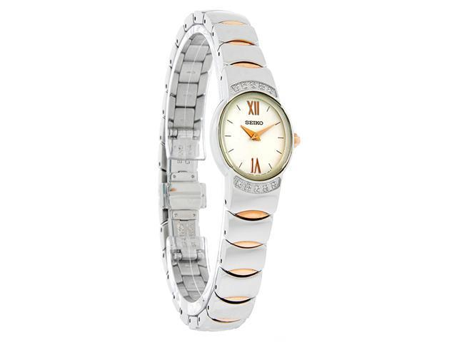 Seiko Vivace Ladies Diamond Two Tone Stl Steel & Rose Gold Dress Watch SUJ502