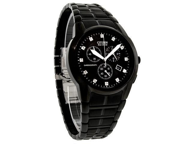 Citizen Eco-Drive Chronograph Diamonds Black Dial Men's watch #AT2055-52G
