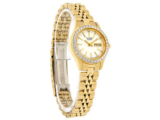 Citizen Quartz Ladies Crystal Gold Tone Rolo Watch EQ0532-55D New