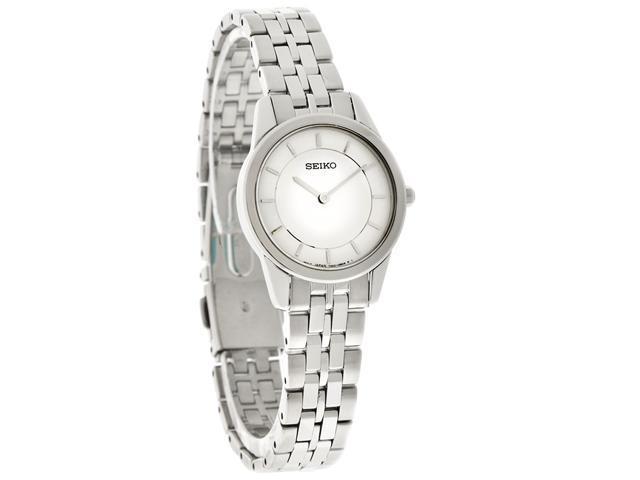 Seiko Quartz Ladies Thin Silver Dial SS Bracelet Watch SFQ827