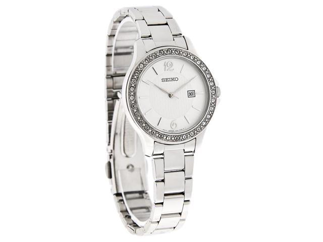 Seiko Quartz Ladies Silver Dial Crystal Bezel Bracelet Watch SXDF97