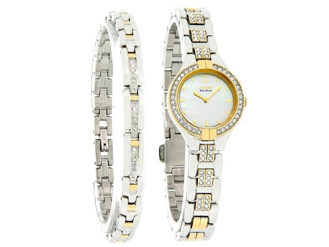 Citizen Eco-Drive Womens Crystal Two Tone Watch 2 PC Gift Set EX1004-62D