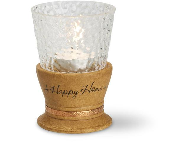 Comfort Candles Pavilion 4-Inch Tall Happy Home Candle Holder, Candle not included
