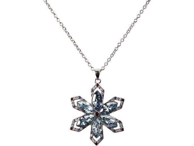 Blue Snowflake Crystal Necklace-Silver made from Swarovski Elements