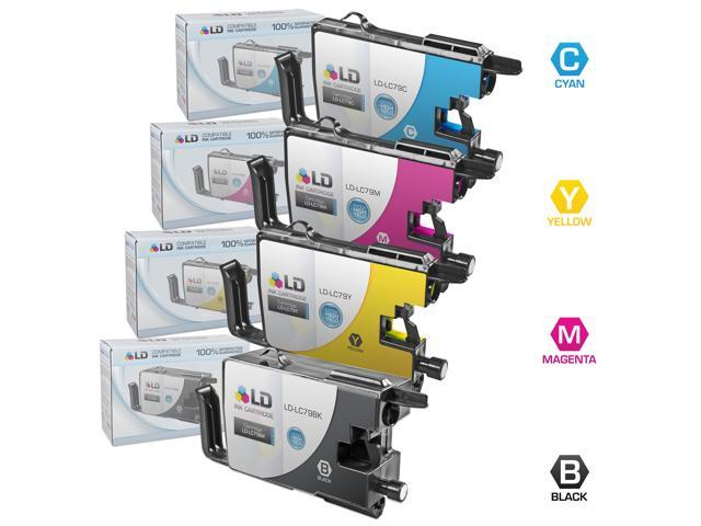 LD © Brother Compatible LC79 Bulk Set of 4 Extra High Yield Ink Cartridges: 1 Black & 1 each of Cyan / Magenta / Yellow for ...