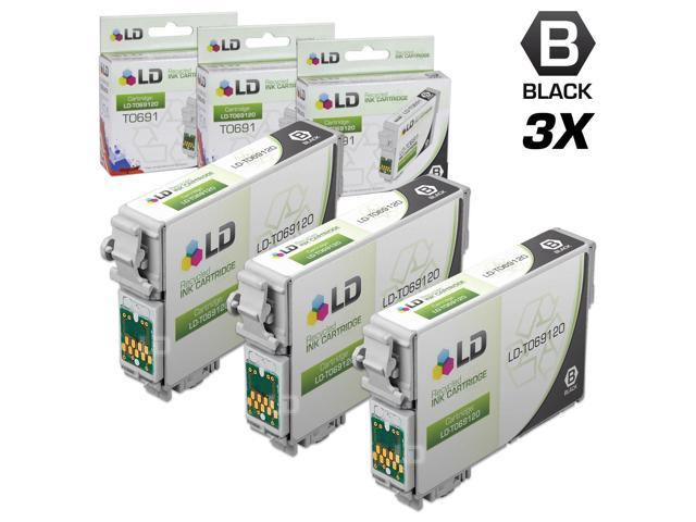 LD © Remanufactured Replacement for Epson T0691 Set of 3 Black Ink Cartridges Includes: 3 T069120 Black Inkjet Cartridges