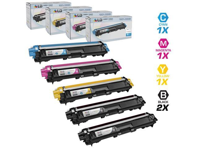 LD Brother Compatible TN221 & TN225 Bulk Set of 5 laser toner Cartridges:  2 of Black & 1 Cyan / Magenta / Yellow for use in the HL-3140CW. HL-3170CDW, MFC-9130CW, MFC-9330CDW & MFC9340CDW Printers