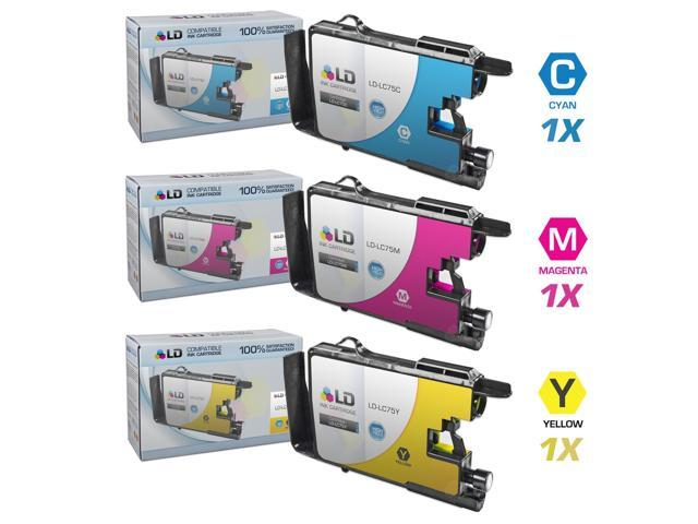 LD © Brother Compatible LC75 Set of 3 HY Ink Cartridges: 1 each of LC75C Cyan / LC75M Magenta / LC75Y Yellow for use in the ...