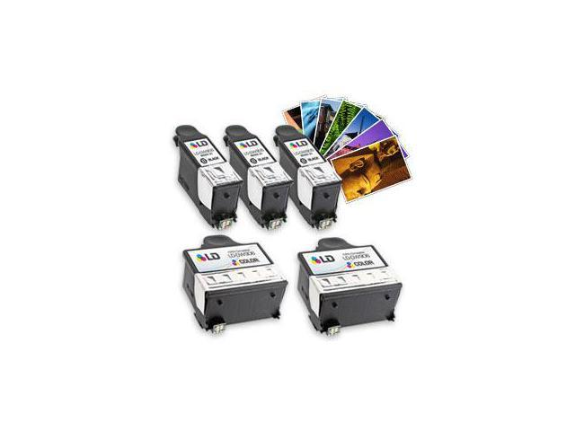 LD © Dell Compatible P703W Bundle Set of 5 ink Cartridges: 3 Black DW905 ink cartridges and 2 tri-color DW906 inkjet cartridges WITH FREE PHOTO PAPER