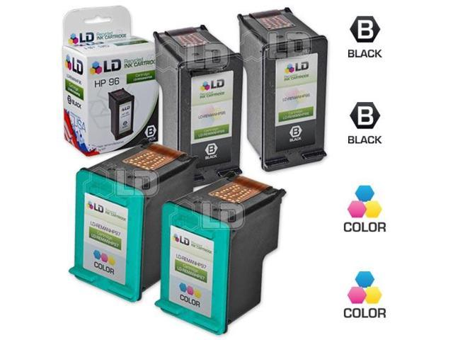 LD © Remanufactured Replacement Ink Cartridges for Hewlett Packard (HP) C8767WN (HP 96) Black and C9363WN (HP 97) Color (2 Black and 2 Color)