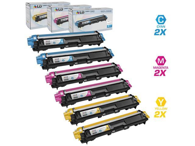 LD © Brother Compatible TN225 Set of 6 laser toner Cartridges: 2 each of Cyan / Magenta / Yellow for use in the HL-3140CW. ...