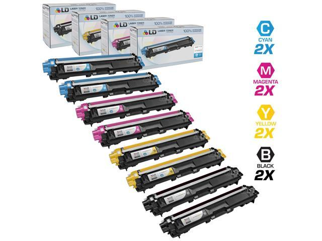LD © Brother Compatible TN221 & TN225 Bulk Set of 8 laser toner Cartridges:  2 Black / Cyan / Magenta / Yellow for use in the HL-3140CW. HL-3170CDW, MFC-9130CW, MFC-9330CDW & MFC9340CDW Printers