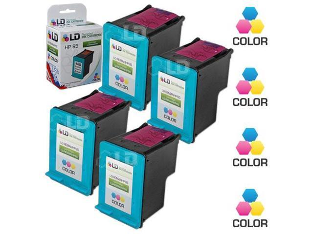 LD © Remanufactured Replacement Ink Cartridges for Hewlett Packard C8766WN (HP 95) Tri-Color (4 Pack)