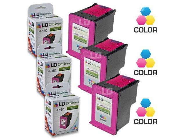 LD © Remanufactured Replacement Ink Cartridges for Hewlett Packard CC643WN (HP 60) Tri-Color (3 Pack)