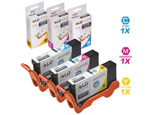 LD © Lexmark Compatible 100XL / 100 Set of 3 High Yield Ink Cartridges: 1 each of Cyan 14N1069, Magenta 14N1070, and Yellow ...