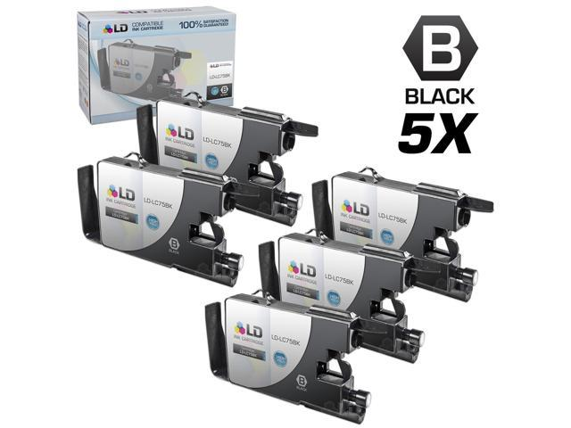 LD © Brother Compatible LC75 Pack of 5 High Yield Ink Cartridges: 5 LC75BK Black for use in the Brother MFC-J6510DW, MFC-J6710DW, MFC-J6910DW, MFC-J825DW and MFC-J835DW Printers