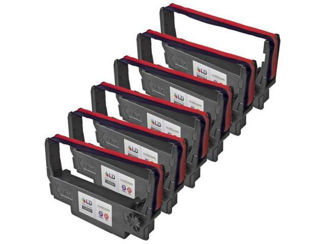 LD © Compatible 6 Pack Purple and Red POS Ribbon Cartridges for Epson ERC-30PR