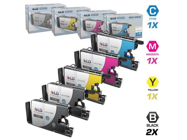 LD © Brother Compatible LC75 Set of 5 HY Ink Cartridges: 2 each of LC75BK Black / LC75C C / LC75M M / LC75Y for use in the ...