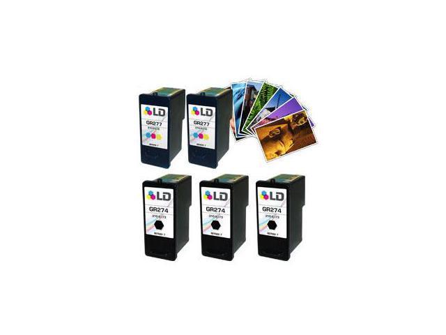 LD © Reman Ink Set for Dell: 3 GR274 BK & 2 GR277 Tri-Color + Free LD 4x6 Photo Paper