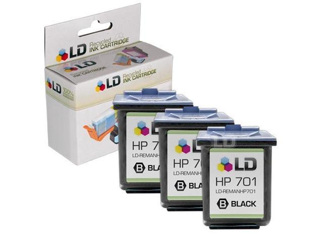 LD © Remanufactured Replacement Ink Cartridges for Hewlett Packard CC635A (HP 701) Black (3 Pack) for use in the HP FAX 640, HP FAX 650, HP 2140 Fax Printers
