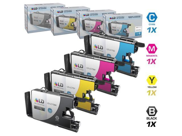 LD © Brother Compatible LC75 Set of 4 HY Ink Cartridges: 1 each of LC75BK Black / LC75C C / LC75M M / LC75Y for use in the ...