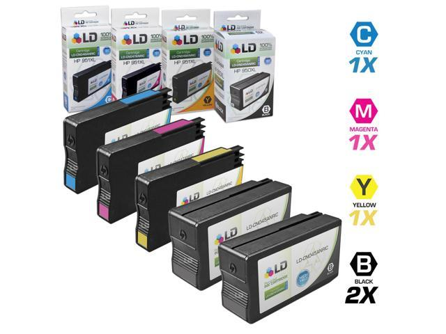 LD © Remanufactured Replacement for HP 950XL / 950 & 951XL / 951 Set of 5 High Yield Ink Cartridges Includes: 2 Black XL ...