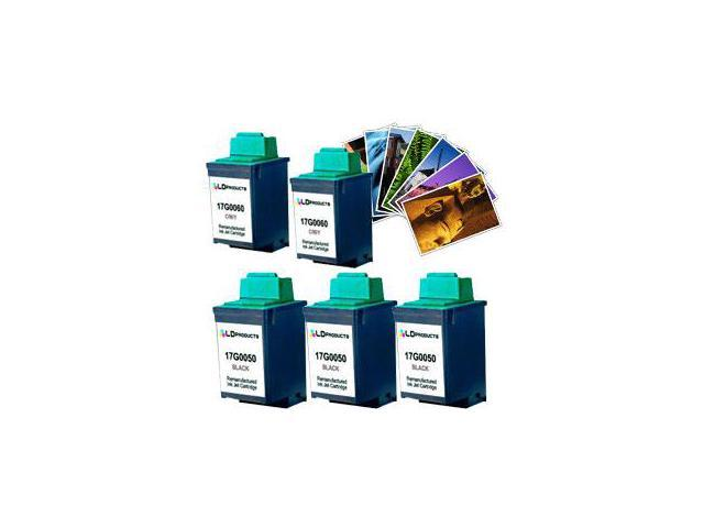 LD © Lexmark  #50 & #60 Remanufactured Combo Set - 3 Black #50 (17G0050) and 2 Color #60 (17G0060) + Free 20 Pack of LD Brand 4x6 Photo Paper