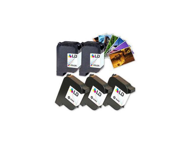 LD © Remanufactured Ink Cartridge Replacements for HP 51645A (HP 45) Black and HP C1823D (HP 23) Color (3 Black and 2 Color) + Free 20 Pack of Brand 4x6 Photo Paper