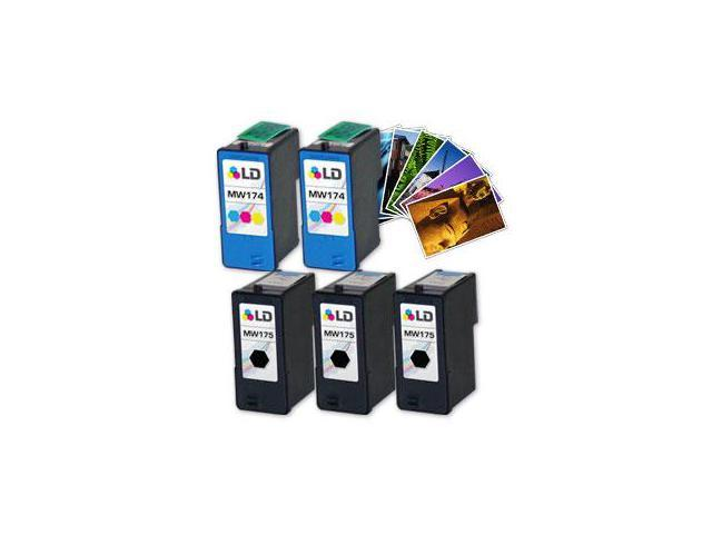 LD © Reman Ink Set for Dell: 3 MW175 BK & 2 MW174 Tri-Color + Free LD 4x6 Photo Paper