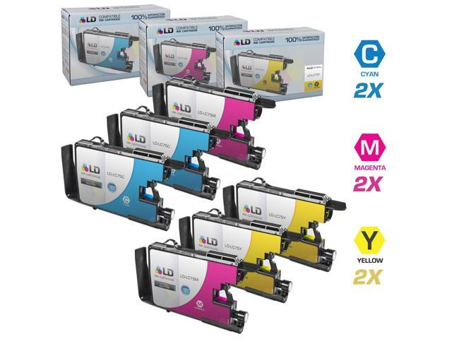 LD © Brother Compatible LC75 Set of 6 HY Ink Cartridges: 2 each of LC75C Cyan / LC75M Magenta / LC75Y Yellow for use in the ...