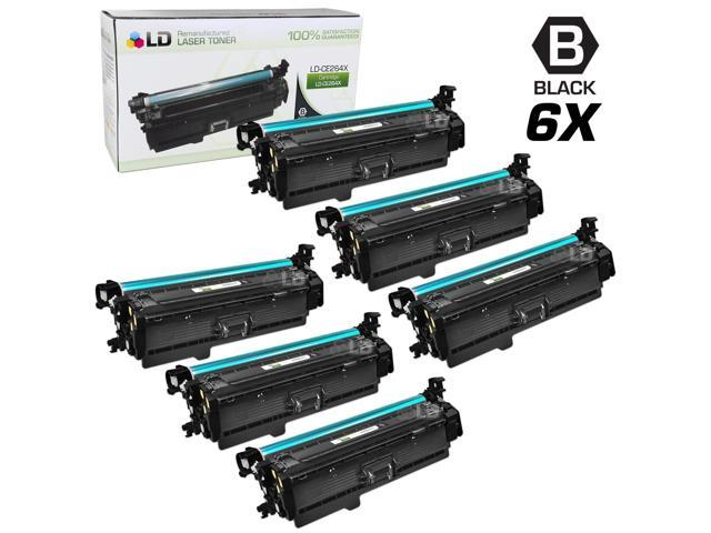 LD © Remanufactured Replacement Laser Toner Cartridges for Hewlett Packard CE264X (HP 646X) High-Yield Black (6 Pack)