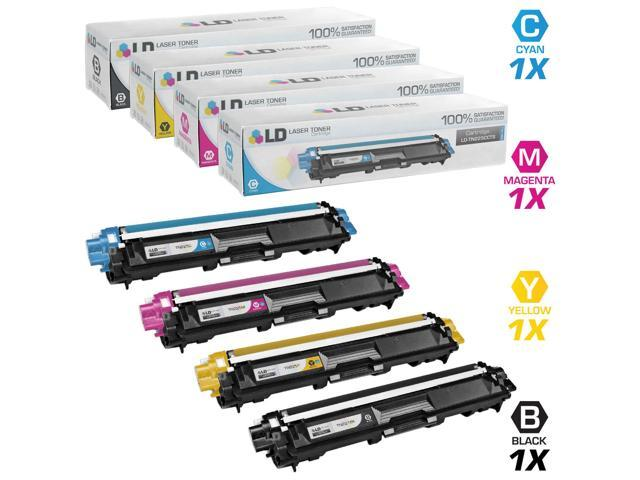 LD © Brother Compatible TN221 and TN225 Bulk Set of 4 laser toner Cartridges: 1 Black / Cyan / Magenta / Yellow for use in ...