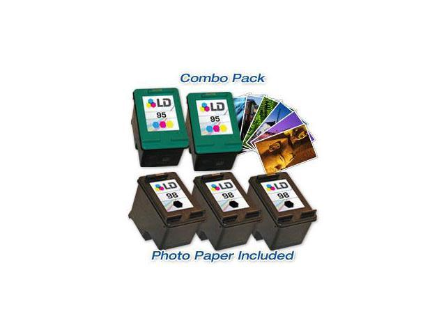 LD © Remanufactured Ink Cartridge Replacements for HP C9364WN (HP 98) Black and HP C8766WN (HP 95) Color (3 Black and 2 Color) + Free 20 Pack of Brand 4x6 Photo Paper