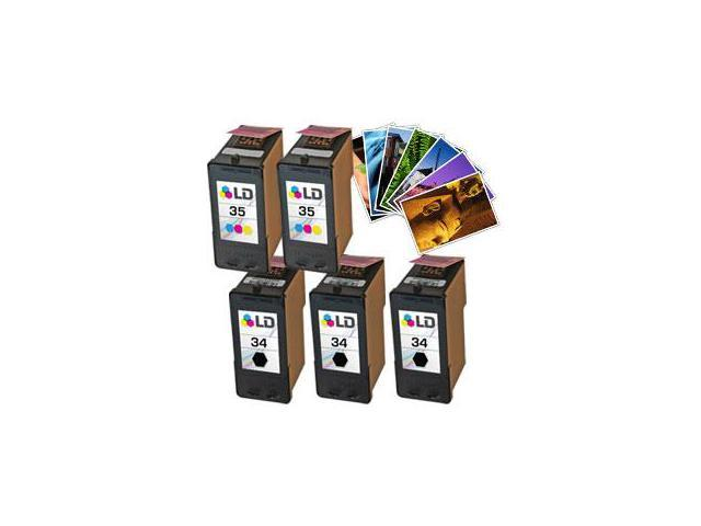 LD © Lexmark  #34 & #35 Remanufactured Combo Set - 3 Black #34 (18C0034) and 2 Color #35 (18C0035) + Free 20 Pack of LD Brand 4x6 Photo Paper